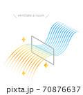 窓による換気のアイソメのイラスト、流線形のカラフルなグラデーションの風 70876637