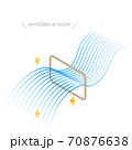 窓による換気のアイソメのイラスト、流線形のブルーのグラデーションの風 70876638