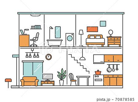 一戸建て住宅の断面図  70878585