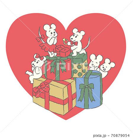 ねずみのカップルの可愛いイラスト 70879054