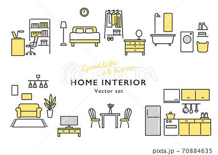 おしゃれなホームインテリア 家具のアイコンセット 70884635