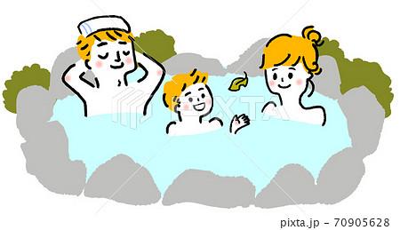 親子で温泉に入るイラスト 70905628