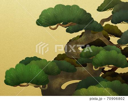 松と金箔の和風背景 - 複数のバリエーションがあります 70906802