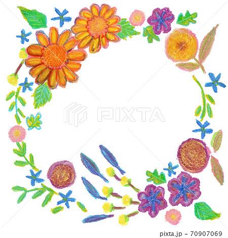 秋の花のクレヨンイラストのリース 70907069