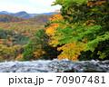 奥日光三名瀑 絶景 湯滝の滝上から望む奥日光紅葉 70907481