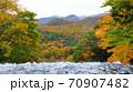 奥日光三名瀑 絶景 湯滝の滝上から望む奥日光紅葉 70907482