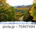 奥日光三名瀑 絶景 湯滝の滝上から望む奥日光紅葉 70907484