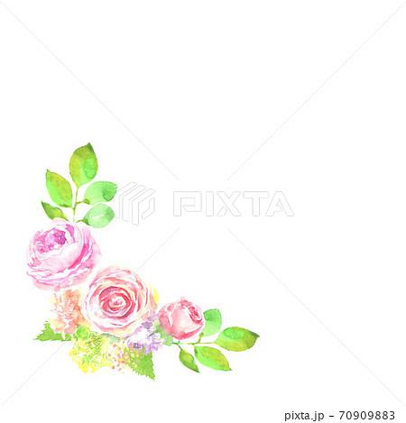 水彩で描いた薔薇の花の飾り 70909883
