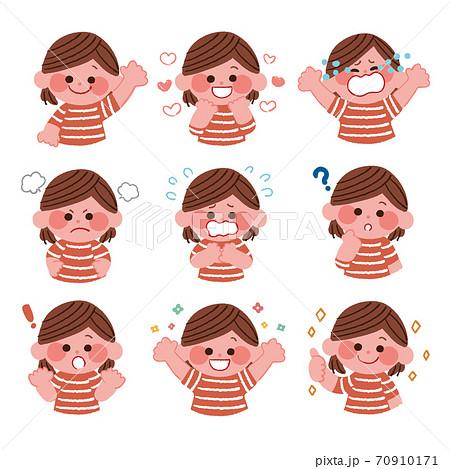 いろいろな表情の子供 70910171