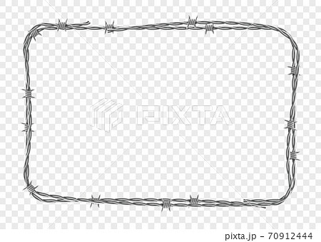 Frame made of metal barbed wire. Vector illustration. 70912444