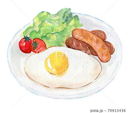 水彩イラスト 食品 ソーセージ定食 70913436