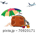 beach vacation landscape with bather and travel 70920171