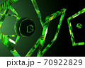 3D abstraction with chaotically arranged frames and spheres in green light and black space 70922829