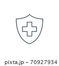 thin line medical cross and shield icon 70927934