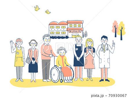 介護施設 車椅子のおばあちゃんと介護スタッフ 70930067