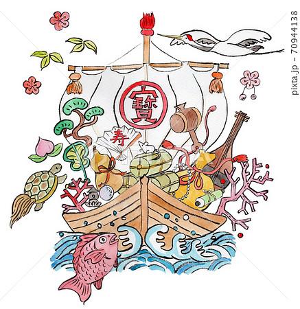 宝船に乗った宝物の水彩イラスト 70944138
