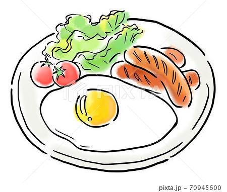 食べ物 イラスト ソーセージ定食 70945600