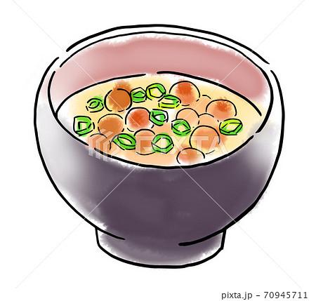 食べ物 イラスト なめこの味噌汁 70945711