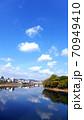 秋の美しい岡山の町並み 70949410