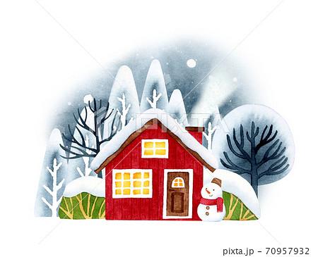 手描き水彩|雪の家 イラスト 70957932