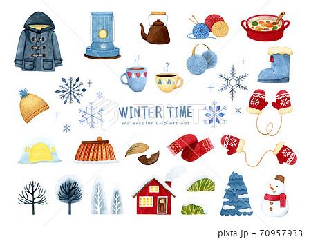 手描き水彩|冬アイテム clipart イラストセット 70957933