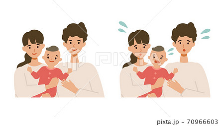 笑顔の若いパパ、ママと赤ちゃんのイラストセット 70966603