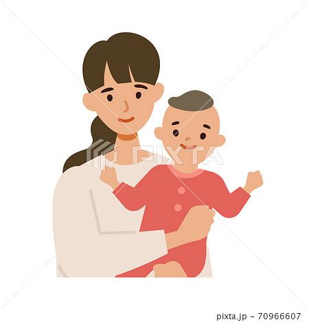 笑顔の若いママと赤ちゃんのイラストセット 70966607