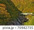 赤芝峡を走る米坂線 70982735