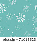 Seamless vector pattern of white winter snowflakes on light blue background. 71016623