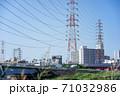 堺市浅香山付近の大和川堤防から大阪市我孫子方向の都市風景 71032986