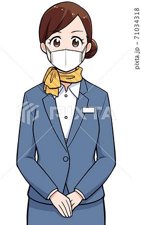 マスクをしている制服の女性 上半身 71034318