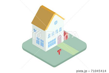2階建て住宅のアイコンイラスト アイソメトリック 71045414
