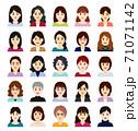 中年の女性のアバターアイコン 正面 71071142