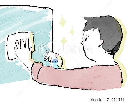 窓ガラスを拭く男性の上半身水彩イラスト 71071531