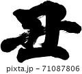 「丑」2021年(辛丑)年賀状筆文字ロゴ素材 71087806