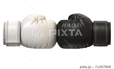 Black and white boxing glove against each other isolated on white background 3d rendering 71097666
