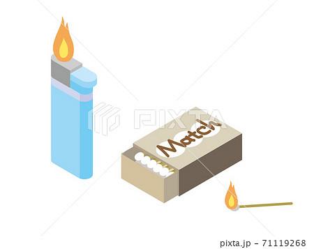 火がついたライターとマッチ 71119268