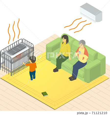 アイソメトリック 暖房の効いた部屋にいる子供、お母さん、おばあちゃんのベクターイラスト 71121210