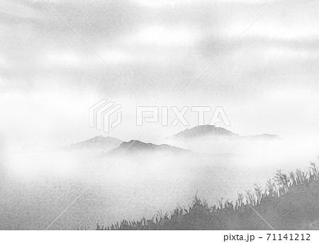 雲海 モノクロ 水墨画 71141212