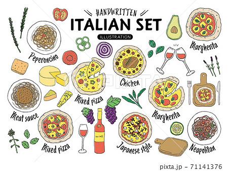 手描きのイタリア料理イラストセット(カラー) 71141376