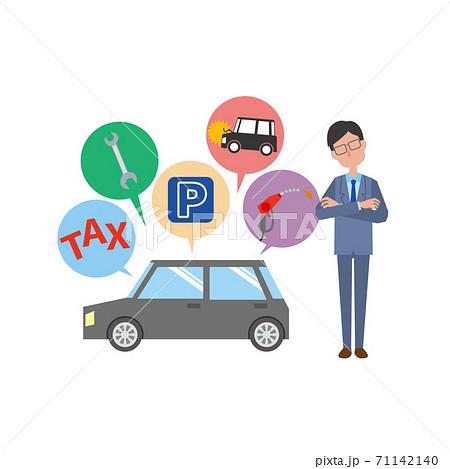 車の維持費を考える男性 71142140