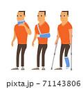 Injured man in plaster cast cartoon 71143806