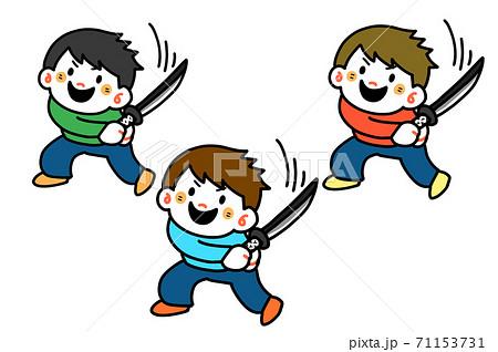 刀を振る子供 71153731