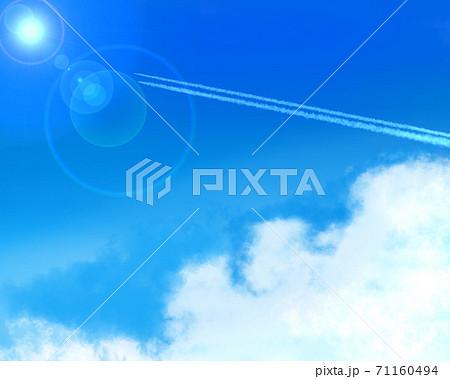 青空 飛行機雲 71160494