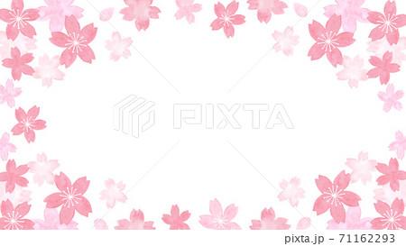 水彩で描いた桜の花のフレーム 71162293