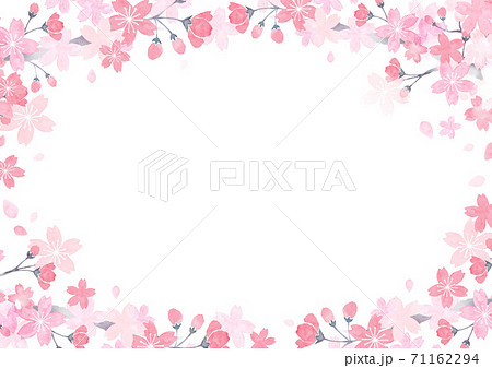 水彩で描いた桜のフレーム 71162294