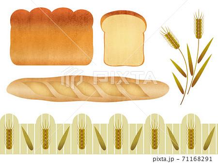 パンと小麦の素材イラストセット 71168291