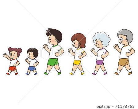 家族でウォーキング 散歩 スポーツ 71173765