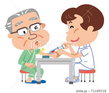 高齢者定期健診 血液検査 採血 イラスト 71190516