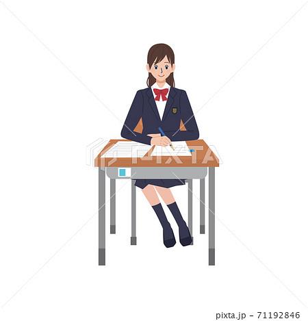 テストをうける女子高生 受験 イラスト 71192846